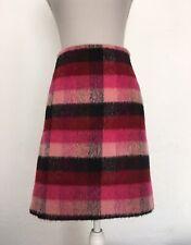 Pink Fluffy Tartan Mini Skirt UK 20 Red Black Blogger Fall Autumn Wool Mix Xmas