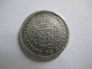 Portugese India Oitavo de Rupia (1/10 Rupee) 1881. Silver