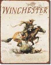 Winchester Logo Tin Sign rifle shotgun handgun hunting