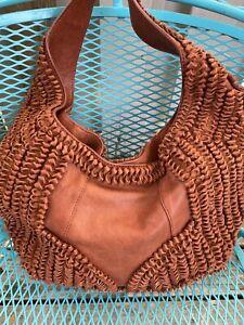 Lockheart Brighton Rafaela Ruffled Leather Masterpiece Shoulder Handbag 895 Hobo
