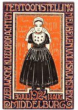 POSTCARD DUTCH 1924 MIDDELBURG EXPO FOLK ART FURNITURE ARTIST-SIGNED