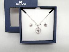 "Authentic Swarovski ""AGREE"" Crystal Heart Pendant-Earring Set Rhodium New in Box"