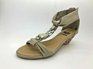 Ladies Shoes No!Shoes Gleam Taupe With antique jewel Wedge Zip Up Back Size 5