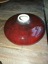 Beautiful Vintage Red Striated Deep Glaze Pottery Vase, signed by artist