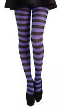 Purple/Black Stripy/Striped Plus Sized Tights (Pamela Mann)