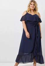 Kleid 46 48 50 52 54 56 Schulterfrei Maxikleid blau Abendkleid Festlich Damen Ne