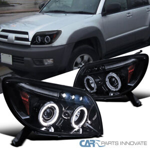 Glossy Black For 03-05 Toyota 4Runner LED Dual Halo Projector Headlights Pair