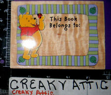 THIS BOOK BELONGS TO FRAME WINNIE THE POOH RUBBER STAMP ALL NIGHT MEDIA RETIRED