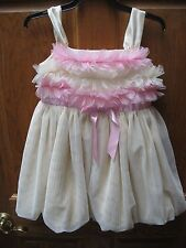 American Girl Bitty Baby Yellow Pink Sugar and Spice Dress For Girls Sz L 6x
