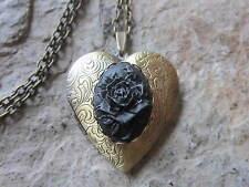 BLACK ROSE CAMEO BRONZE HEART LOCKET - UNIQUE, HANDMADE, MOURNING, ANTIQUE LOOK