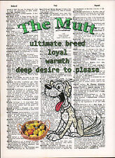 Mutt Mixed Breed Dog Traits Altered Art Print Upcycled Vintage Dictionary Page