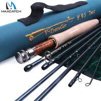 V-Traveler Fly Fishing Rod 4/5/6/7/8/9wt 9ft 7pcs, IM10 Carbon fiber W/ Rod Tube