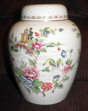 ANTIQUE HAND PAINTED VINTAGE GINGER JAR MADE BY CROWN STAFFORDSHIRE IN ENGLAND