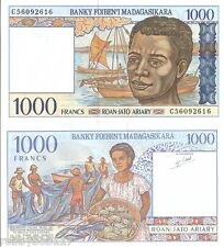 MADAGASCAR 1000 Francs Banknote World Money Currency Africa Bill p76 1994 Note