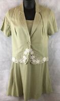 Dress Barn Size 14 Dress Outfit Sleeveless Green Dress With Short Sleeve Jacket