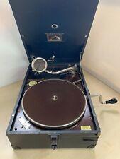 Vintage HMV 101 Gramophone Black Cased Hand Crank Record Player 10E