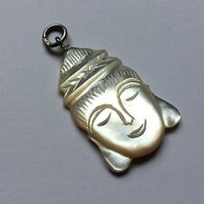 Sterling Silver 925 Mother Of Pearl Carved Buddha Head Pendant Necklace Charm A