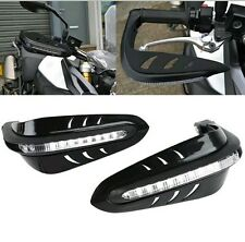 Pair Motorcycle Led Light Handle Brush Bar Hand Guard Protector Cover Black