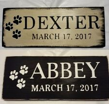 Pet Grave Marker Sign Customized Personalize with Name and Date Pet Paws Choose