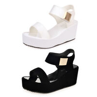 Women Ladies Middle Heel Open Toe Platform Sandals Wedges Chunky Summer Shoes