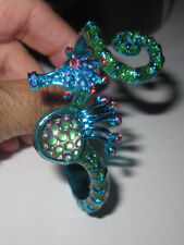 BETSEY JOHNSON CRABBY COUTURE BLUE SEA HORSE HINGED BRACELET