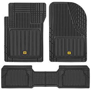 CAT® 3pc All Weather Car Floor Mats Liners Set- Black Tough Rubber Deep Channel