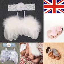 Newborn Baby White Angel Wings Headband Costume Photo Photography Props