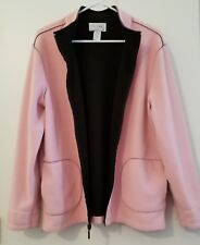 Sport Savvy Pink Fleece Zip Up collared Vest with Pockets womens large EUC