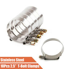 """10x 2.5"""" 63mm ID T-Bolt Silicone Hose Clamps  Stainless Steel 67-74mm Connector"""