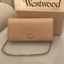 Vivienne Westwood Leather Women's Long Wallet Purse w/ Chain WOC- Pale Pink