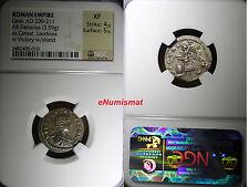 ROMAN EMPIRE Geta as Caesar (AD 198-209). AR denarius (3.59 gm) NGC XF 4/5 - 5/5