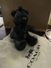 NWT Coach Keith Haring leather teddy bear  keychain bag charm black/teal