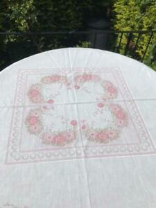 Vintage/ Retro white & pink flowered rectangular tablecloth - Cotton
