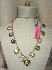 NWT Betsey Johnson Leopard Heart Locket Necklace Vintage Style NEW Cat Shelter