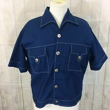 Vintage Blouse Weekender of Miami Sailor/Havana Style Blue With Anchor Buttons