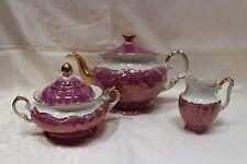 Rare Purple Marble & Gold Coffee Pot Creamer Sugar Bowl Wawel China from Poland