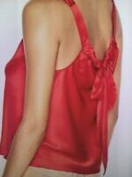 Victoria's Secret Lingerie Cami Tank Top Red Satin Bow Tie Back Sleep Large L