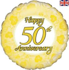 "18"" Foil Balloon - Happy 50th Anniversary (Golden Wedding anniversary)"