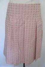BCBG MAXAZRIA Cream With Pink Design 100% Cotton Skirt Size 4,NWT,$ 210.00