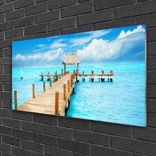Print on Glass Wall art 100x50 Picture Image Bridge Sea Architecture