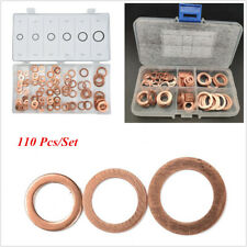 "110 Pcs 1/4""-5/8"" Engine Oil Drain Copper Ring Gaskets Flat Washer Set Seal Kit"