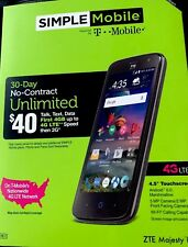 IMPLE MOBILE - ZTE MAJESTY PRO 4G LTE WITH 8GB MEMORY PREPAID CELL PHONE - BLACK
