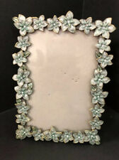 """Enamel Pottery Barn Mariposa Frame Black with Silver Floral 4.5 X 6.5"""" Frame"""