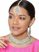 Indian Bollywood Rhinestone White Choker Necklace Earring Partywear Jewelry Set