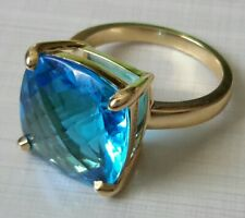Tiffany & Co 18K Yellow Gold Blue Topaz Sparkler Ring 7.7 Grams Size 7