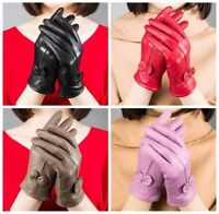 Genuine Lambskin Leather Gloves Women's Winter Warm Driving Soft Lining Fashion