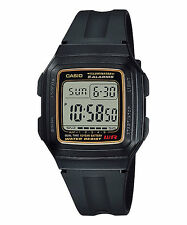 CASIO F-201WA-9A Standard Digital 10 Year Battery Life Classic Resin Black Gold*