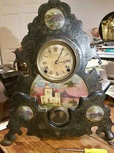 N Muller iron clock with N Pomeroy movement. Currently running.