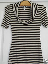 Womens H & M Striped stretch top size eur xs brown cream free uk postage H&M