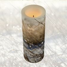 3x8 LED PILLAR CANDLE - Flameless + Flickers ~ Exclusive Design: Nature's Bling